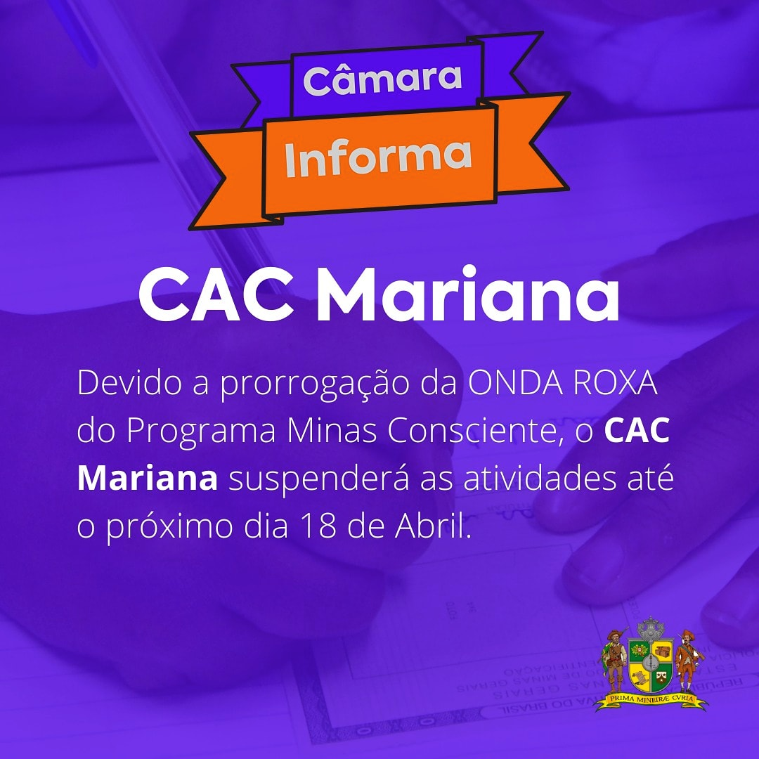 ONDA ROXA: CAC MANTÉM SUSPENSÃO DO ATENDIMENTO AO PÚBLICO