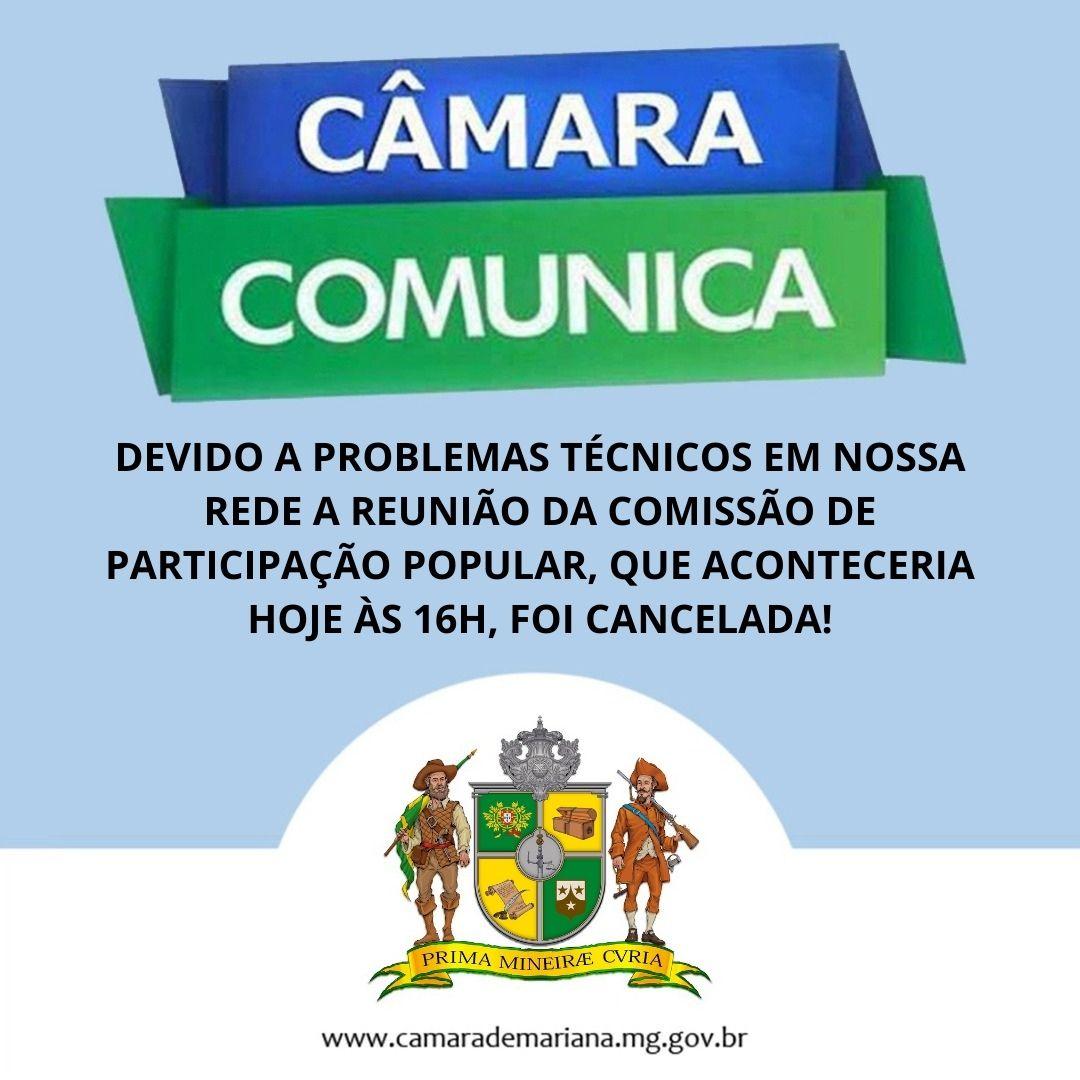CANCELAMENTO REUNIÃO